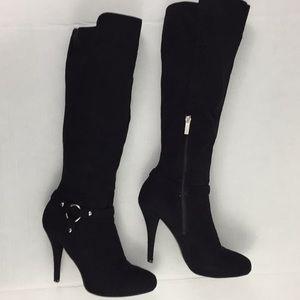 Guess Kneehigh stiletto heel Suede black boots 8